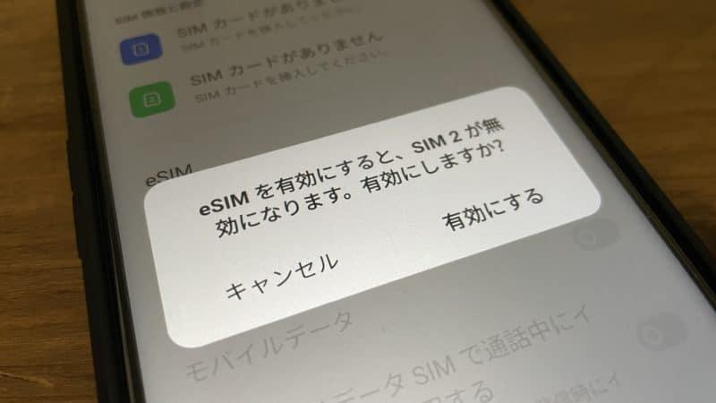 eSIMはSIMスロット2と排他的仕様